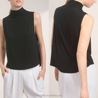 Fashion tank top women slight high neck women black sleeveless arc-shaped hem tank blouse