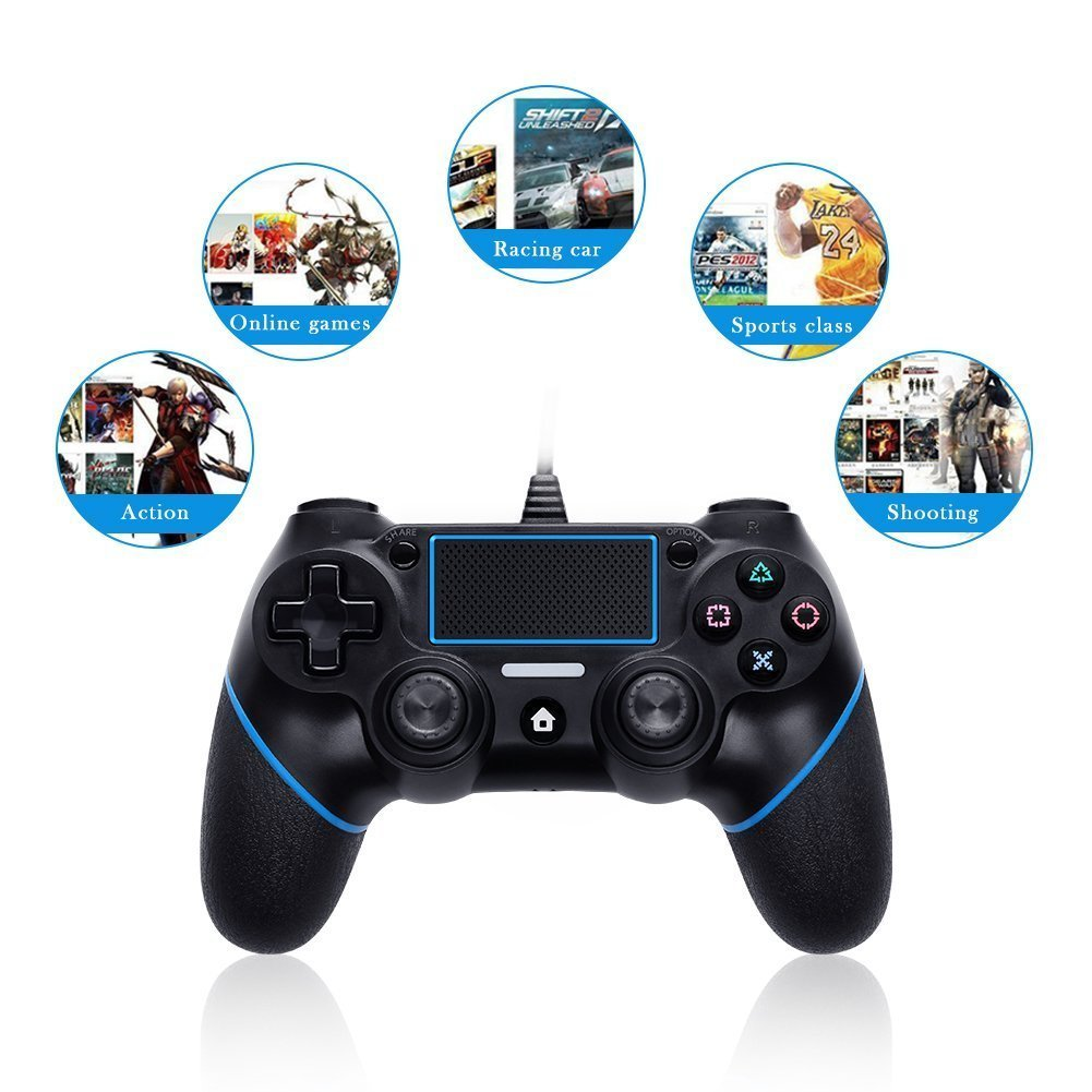 USB Wired Game Controller For PlayStation 4 Joystick Gamepad Controller (Black+Blue)