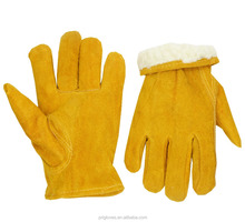 Warm Lining Yellow Split Cowhide Winter Truck Leather Driver Gloves Cold