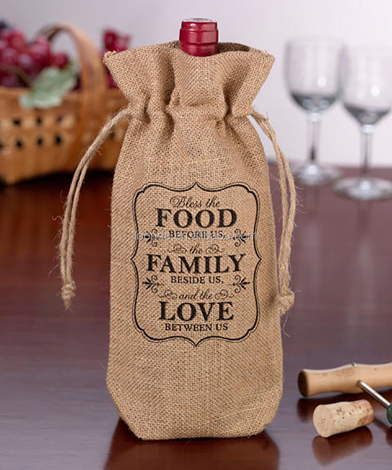 Rustic burlap wedding wine glass carrier bag or wine bottle wrap
