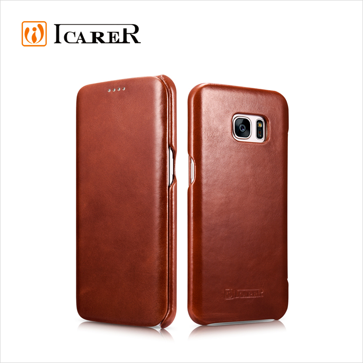 ICARER Genuine Leather Flip Cover Case For Samsung Galaxy S7 and S7 Edge Mobile Phone Flip Cover