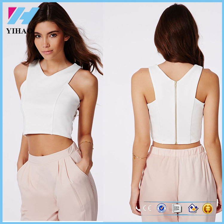 V Neck Blank Crop Tops For Women Wholesale Clothing, V Neck Blank ...