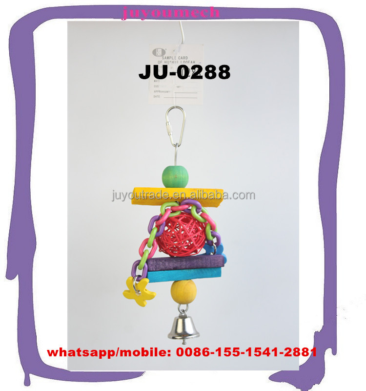 Initiative pet toys with nontoxic plastic ball chains and color wood blocks stop bars JU-0288