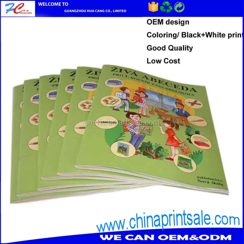 Custom design printing softcover staple book in China