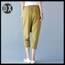 Han edition new large size ladies cotton linen haroun pants leisure loose flax 7/3 pants