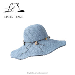 Fashion Women Beach Lady Wide Brim Floppy Fold Summer Sun Bowler Paper Straw Hat