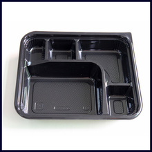 Eco friendly PS black disposable take away food container with transparent lid
