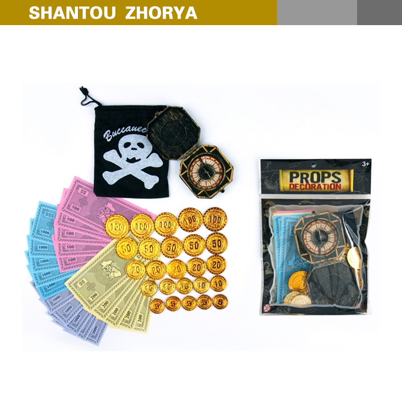 Amazing cool pirate play set children pirate toy with bag, compass, coin and paper money sea rover set toy