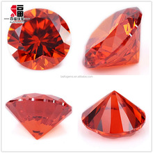 Machine Cut Faceted Synthetic hearts and arrows CZ stone loose orange cubic zirconia for jewelry