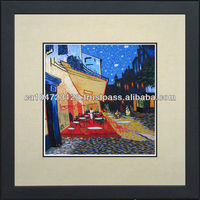37118-The Cafe Terrace-Van Gogh--Susho, King Silk Art 100% Handmade Silk Embroidery