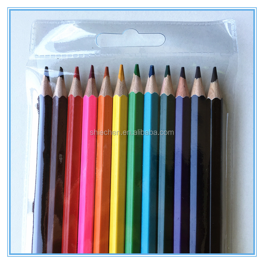 Kids drawing wood 12 pcs colored pencil in bag