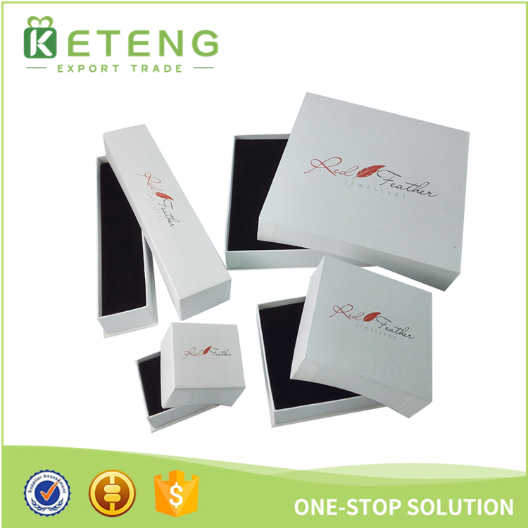 Low price white cardboard jewelry gift packing box custom logo