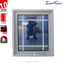 Australia standard hot modern wrought iron awning window with grill design Made in China