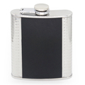 4 OZ flagon with black twill leather hip flask