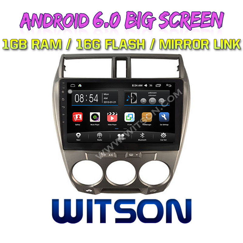 "WITSON 10.2"" BIG SCREEN ANDROID 6.0 AUTO RADIO DVD PLAYER GPS FOR HONDA CITY 2008 2013 MANUAL A <strong>C</strong> MIRROR LINK <strong>1080P</strong> HD"