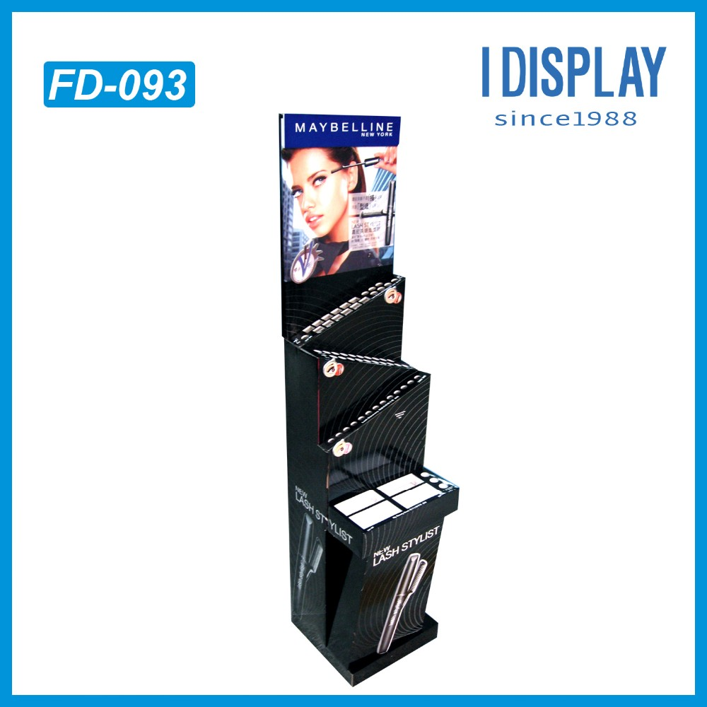 Eco-friendly Trapezoidal 3 tiers cosmetic product floor display stand