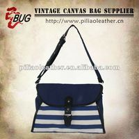 203 Popular Design Navy Stripe Cotton Canvas Shoulder Bag With PU Leather For Ladies/Teens/Women Good For Shopping