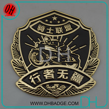 Free to design the rider custom gold metal car emblem badge for car and motorcycle