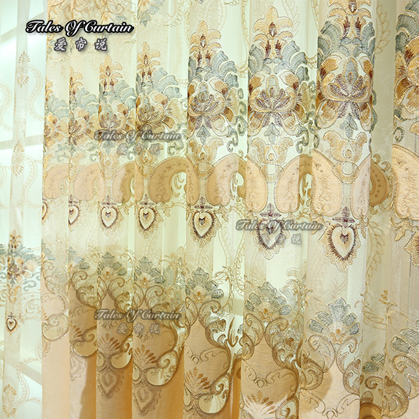Beautiful embroidery design sheer curtain