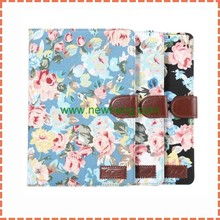factory price flower cloth leather case with stand for ipad mini 4