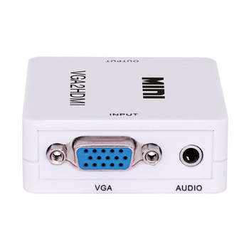 1080P Full HD Mini VGA to HDMI Audio Video Converter Adapter Box With USB Cable and 3.5mm Audio Port Cable