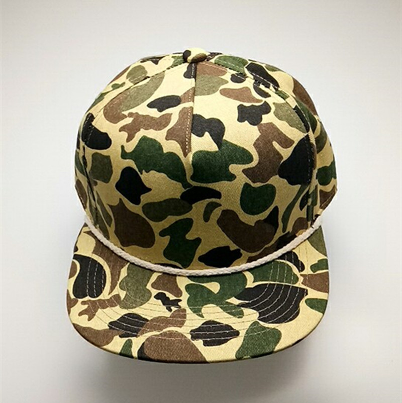 Original Custom Cotton Snapback Rope Hat Blank Camo Flat Bill Hats Caps 356a4c7787a4