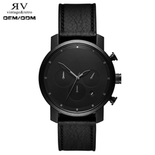 5ATM waterproof chrono myota movement 6 hand black color men gender watch luxury