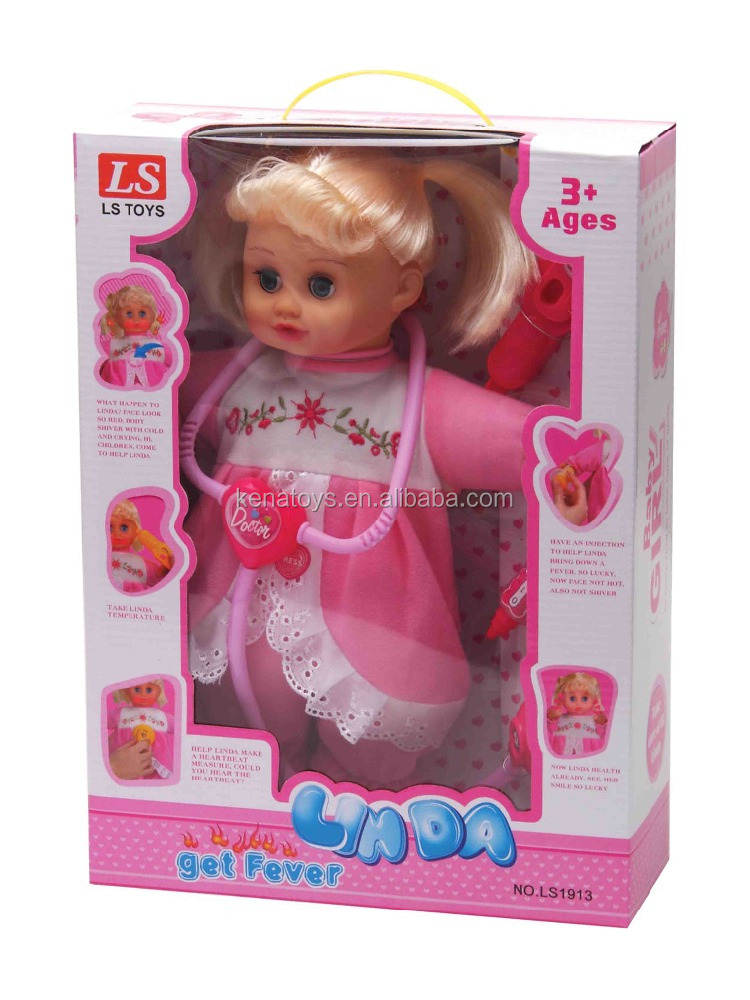3 assort. Sick fever baby doll (light , crying , laughing doll)