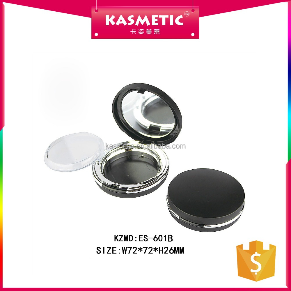 Newest matte black round bb cushion compact powder case for wholesale