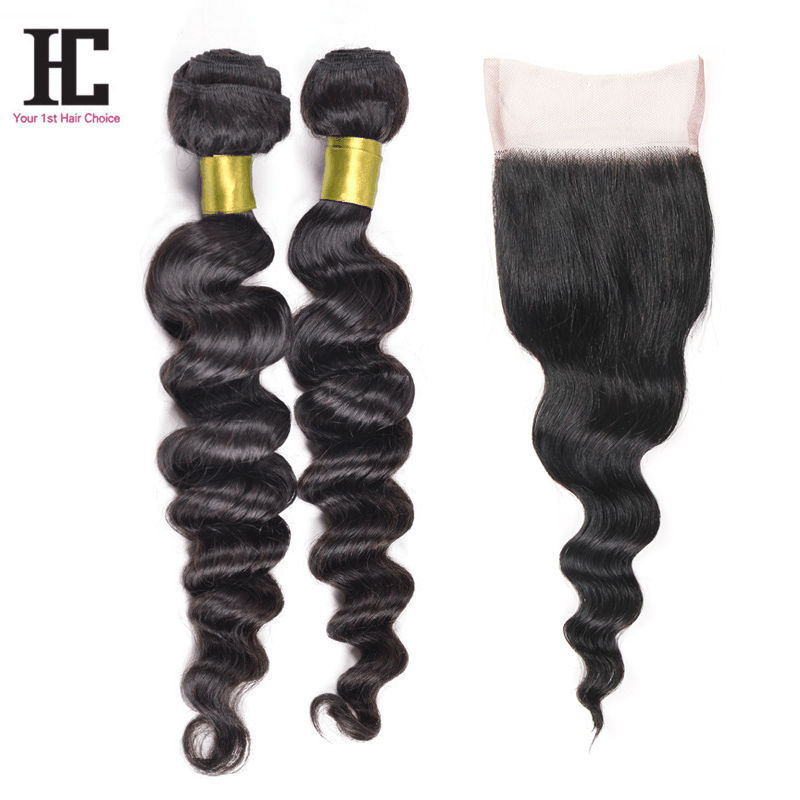 Rosa Hair Products With Closure  Malaysian Loose Wave Grade 7A Unprocessed Virgin Hair With Closure Lace 2 Bundles With Closure