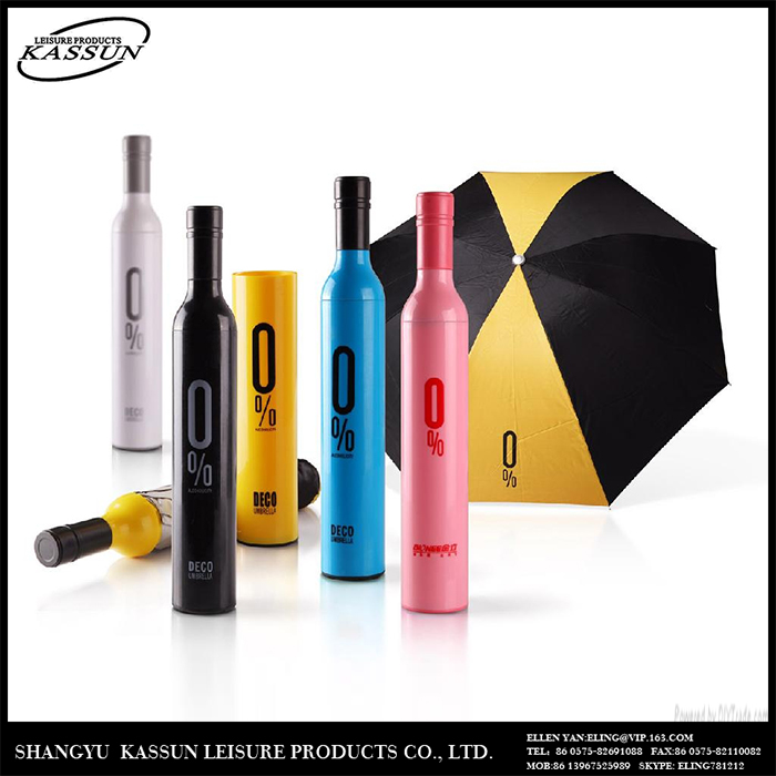 Promotion professional made durable high quality cheap wine bottle umbrella