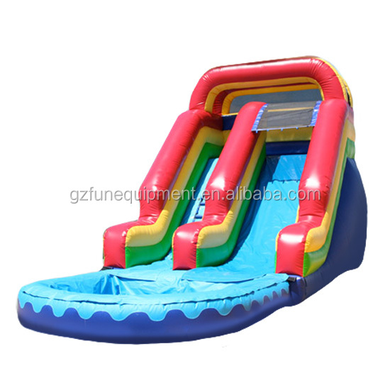Commercial amusement park inflatable water slide with pool for kids
