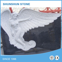 China Detailed Carving Classic Cheap Black Granite Angel Headstone
