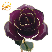 shinning color metal rose flower for crafts 24k gold dipped real rose for wholesale
