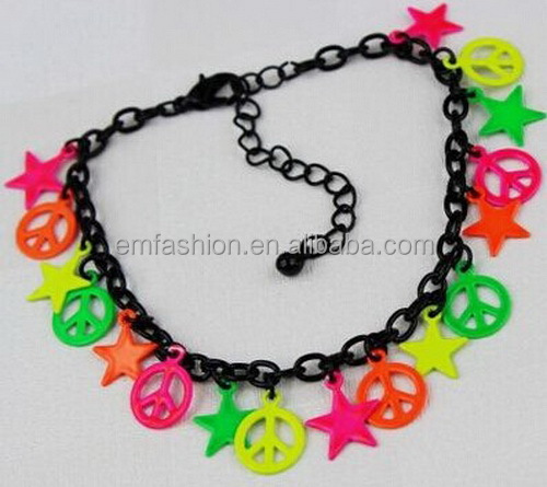 Fashion Fluorescent Colorful Peace Sign Star Charms Women's Chain Bracelet