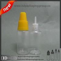 10ml PETe juice plastic bottles with long thin tips child proof cap