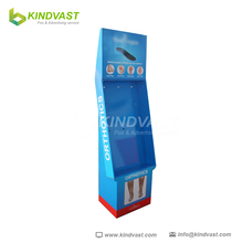 supermarket promotions sky blue floor cardboard hook display for feet massager