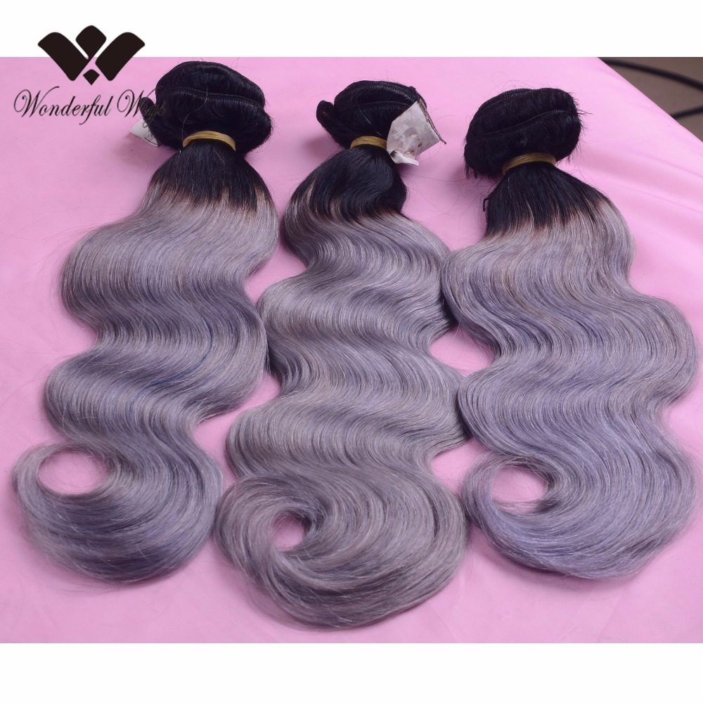 100% virgin indian human hair wefts ombre T 1b grey color large stock