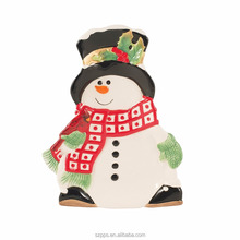 Snowman Collection Snack Plate with Spreader, Red/White