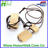 wooden 1 gig usb flash drives with own logo and leather necklace