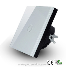 EU Standard Touch Wall Switch 1 Gang 1 Way 220V , White Crystal Glass Cover Electrical Touch Screen Light Switches