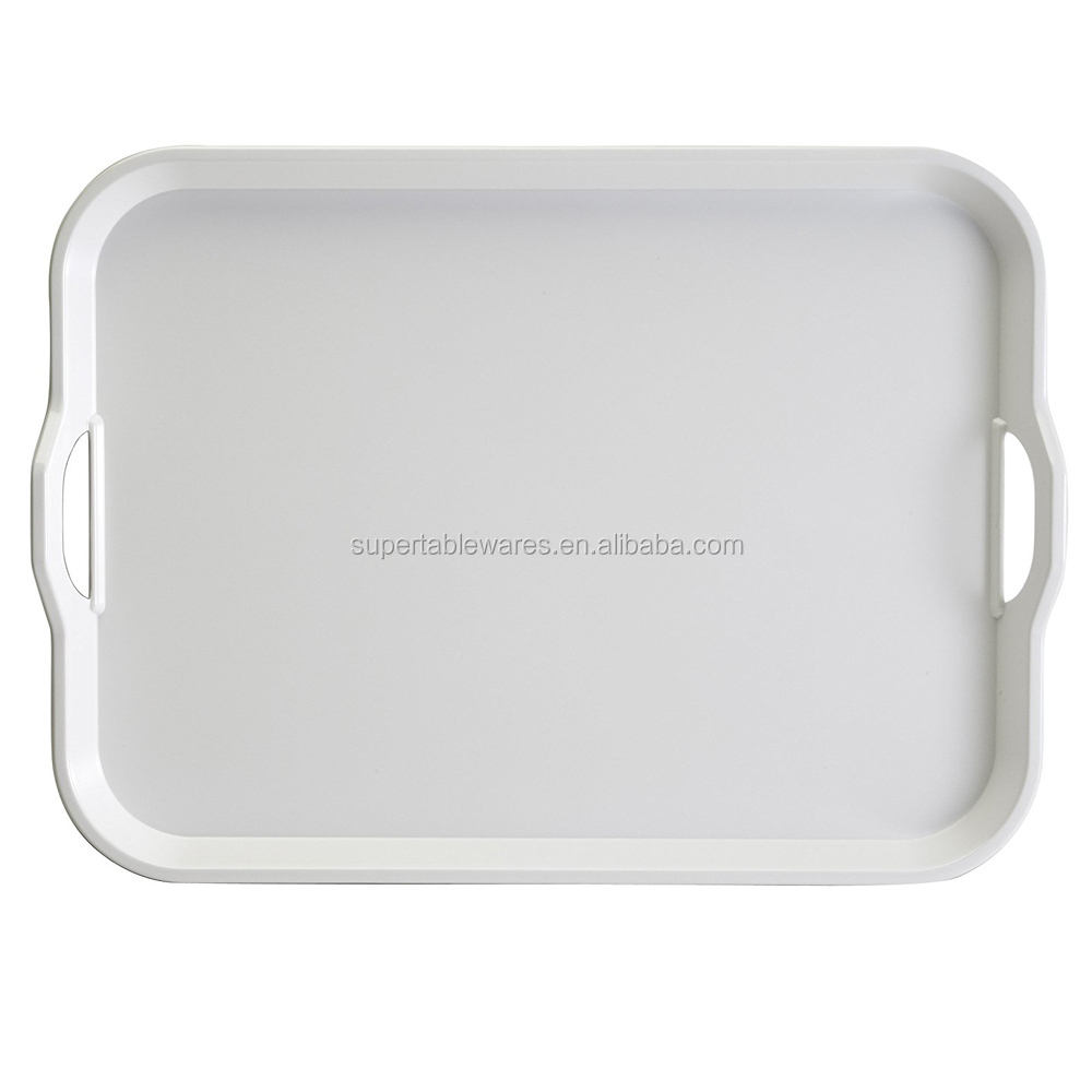 Large white rectangular melamine plastic serving tray for food