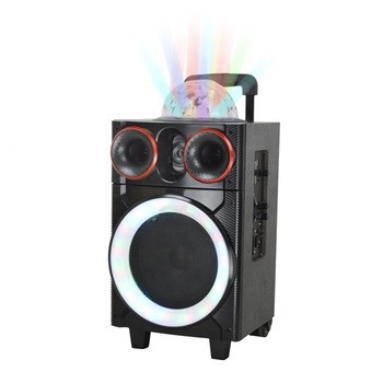Hoxen 8 Inch Active Trolley Speakers With Disco Ball Light 8 Inch Active Trolley Speaker