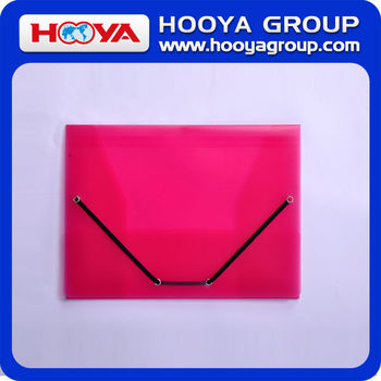 promotional cheap stationery transparent wholesale plastic elastic closure folder