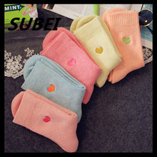 Love autumn and winter cotton embroidered terry color socks