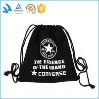 New arrival cheap plain black cotton drawstring backpack