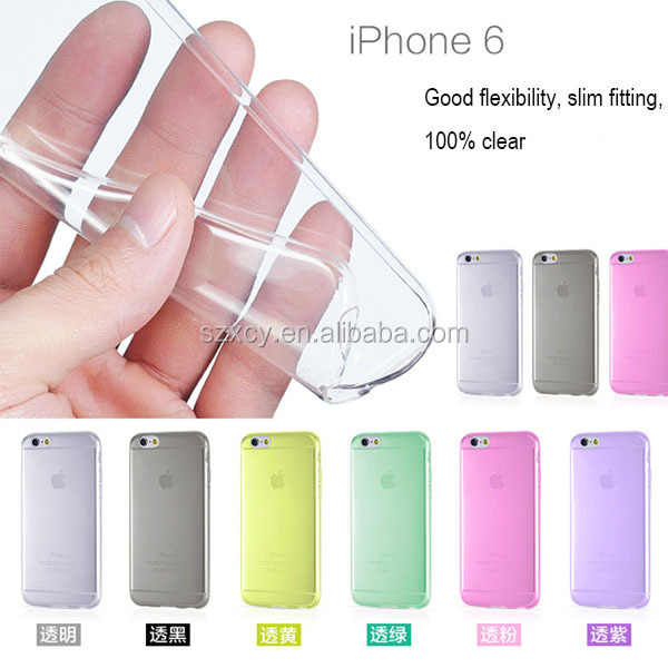 New design with dust plug ultra thin clear transparent TPU mobile phone case for iphone 6