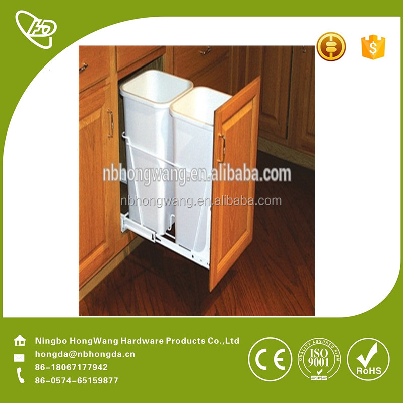 Ningbo factory pull out kitchen white plastic <strong>waste</strong> basket2017