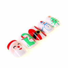 Senboma cute nail art Santa Claus false nail tips unique gifts for Christmas