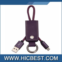 Gift custom 2 in 1 leather keychain micro usb cable for Samsung